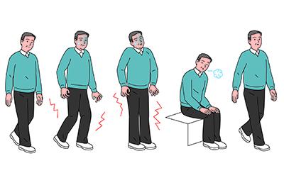 Mann kriegt Schmerzen beim Gehen